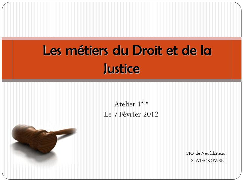Atelier 1 ère Le 7 Février 2012 CIO de Neufchâteau S. WIECKOWSKI Les métiers du Droit et de la Justice Les métiers du Droit et de la Justice