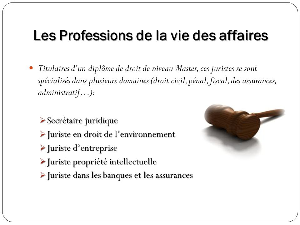 Titulaires dun diplôme de droit de niveau Master, ces juristes se sont spécialisés dans plusieurs domaines (droit civil, pénal, fiscal, des assurances