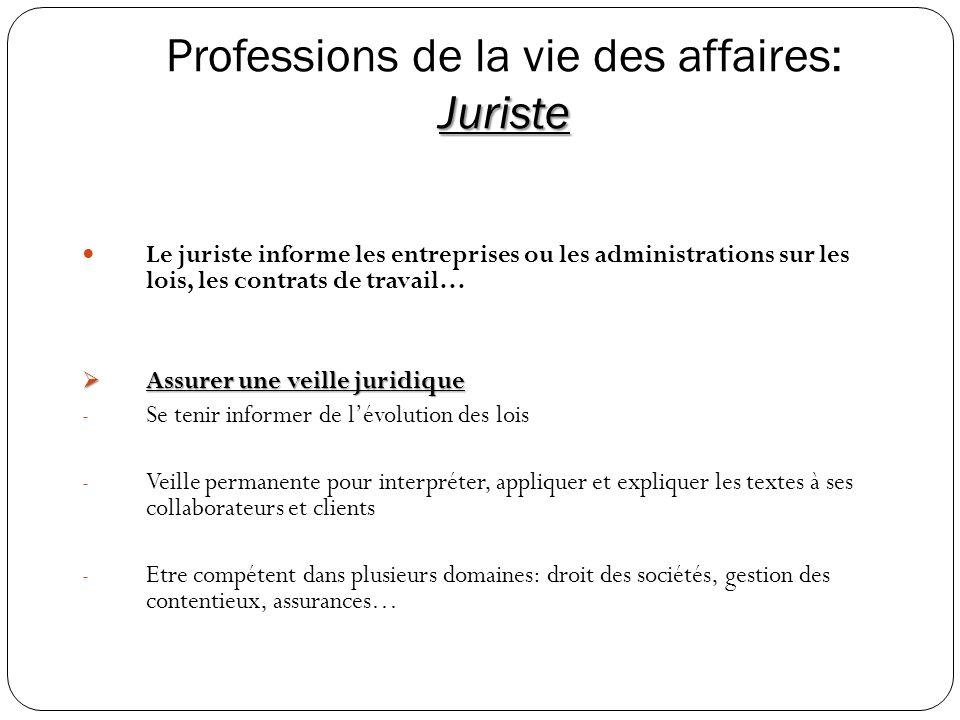 Juriste Professions de la vie des affaires: Juriste Le juriste informe les entreprises ou les administrations sur les lois, les contrats de travail… A