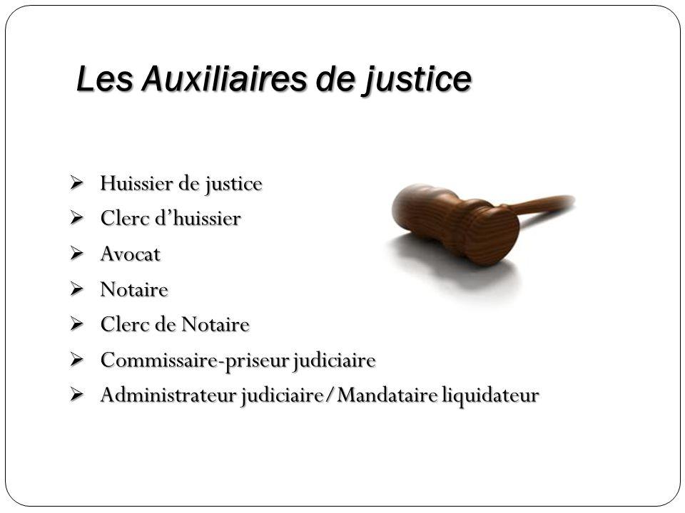 Les Auxiliaires de justice Huissier de justice Huissier de justice Clerc dhuissier Clerc dhuissier Avocat Avocat Notaire Notaire Clerc de Notaire Cler
