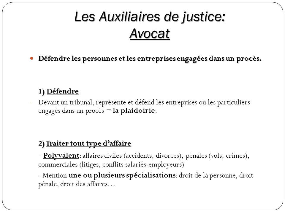 Les Auxiliaires de justice: Avocat Défendre les personnes et les entreprises engagées dans un procès. Défendre les personnes et les entreprises engagé