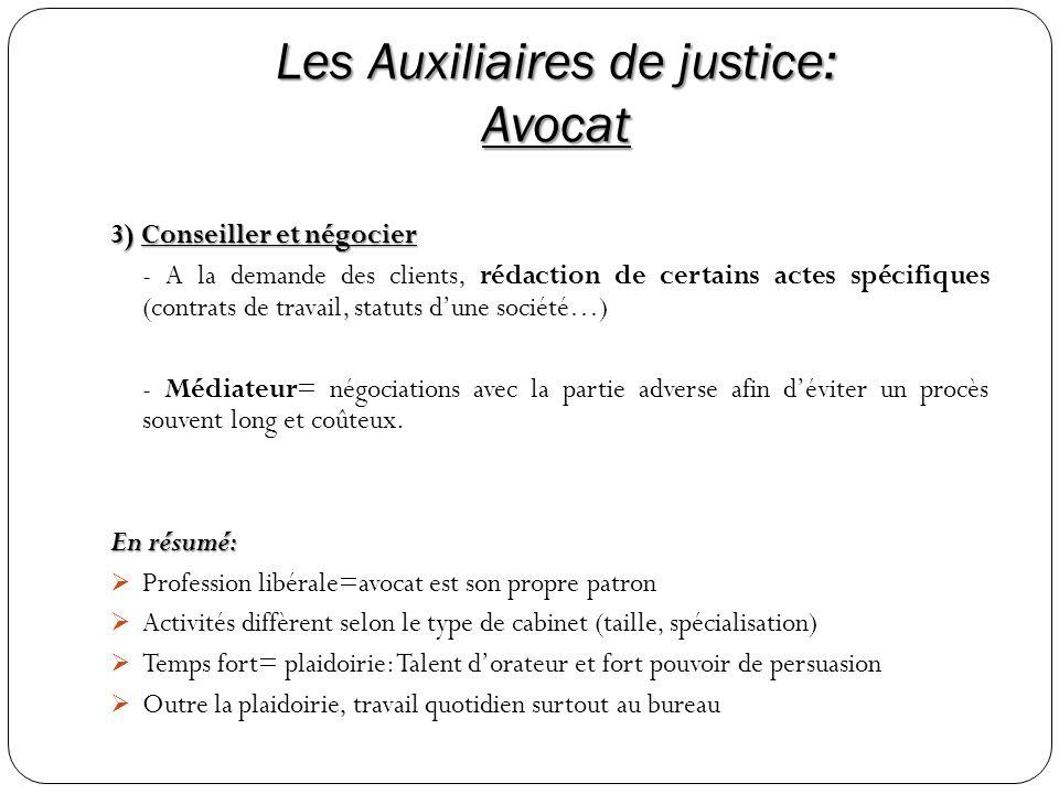 Les Auxiliaires de justice: Avocat 3) Conseiller et négocier - A la demande des clients, rédaction de certains actes spécifiques (contrats de travail,