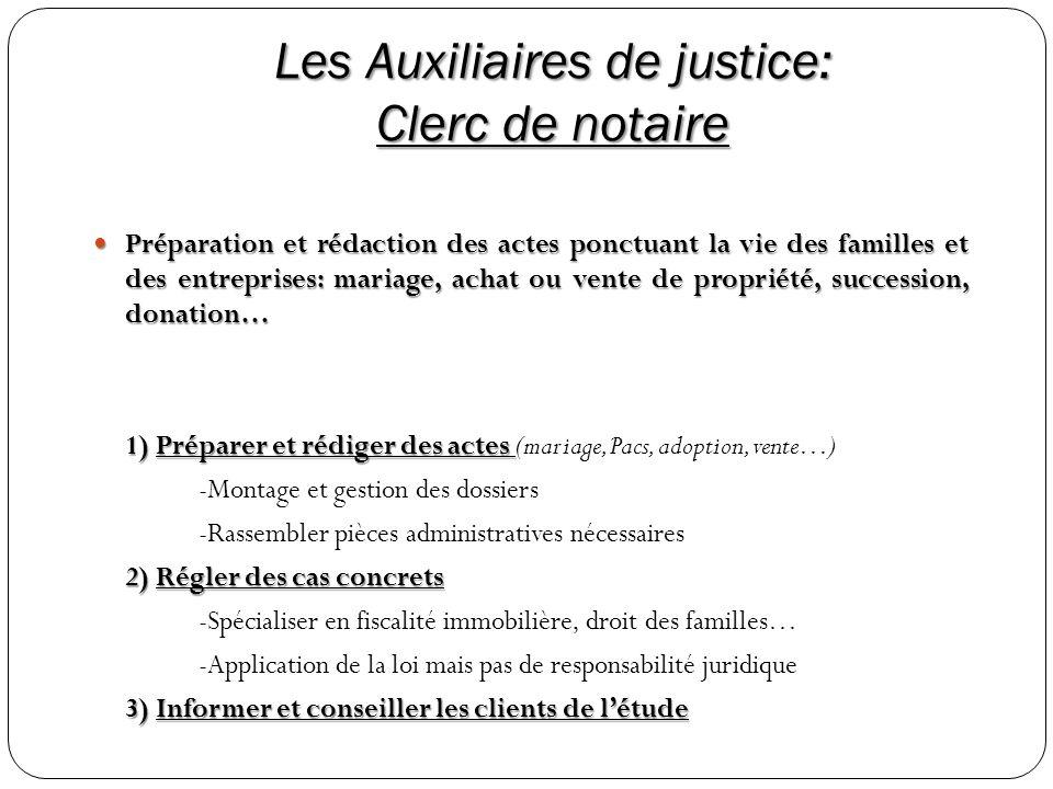 Les Auxiliaires de justice: Clerc de notaire Préparation et rédaction des actes ponctuant la vie des familles et des entreprises: mariage, achat ou ve