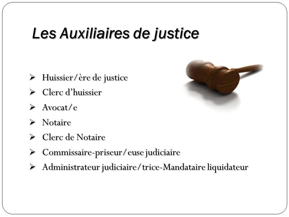 Les Auxiliaires de justice Huissier/ère de justice Huissier/ère de justice Clerc dhuissier Clerc dhuissier Avocat/e Avocat/e Notaire Notaire Clerc de