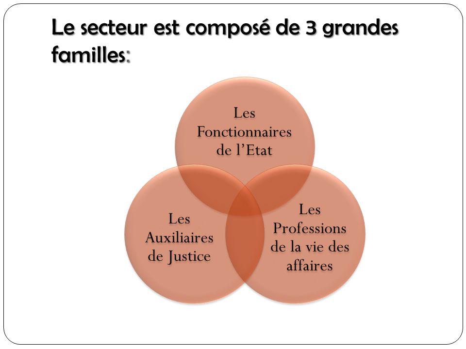Le secteur est composé de 3 grandes familles : Les Fonctionnaires de lEtat Les Professions de la vie des affaires Les Auxiliaires de Justice