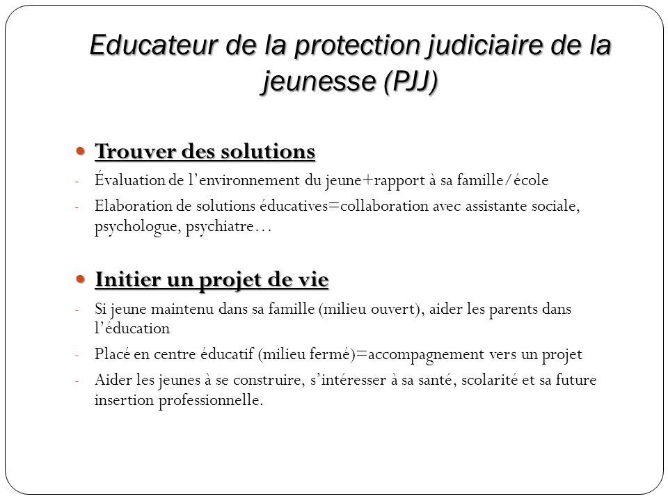 Educateur de la protection judiciaire de la jeunesse (PJJ) Trouver des solutions Trouver des solutions - Évaluation de lenvironnement du jeune+rapport