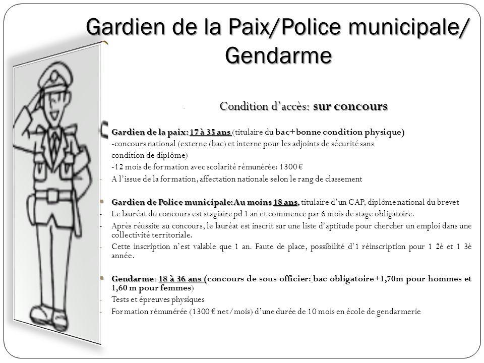Gardien de la Paix/Police municipale/ Gendarme Condition daccès: sur concours - Condition daccès: sur concours -Gardien de la paix: 17 à 35 ans -Gardi