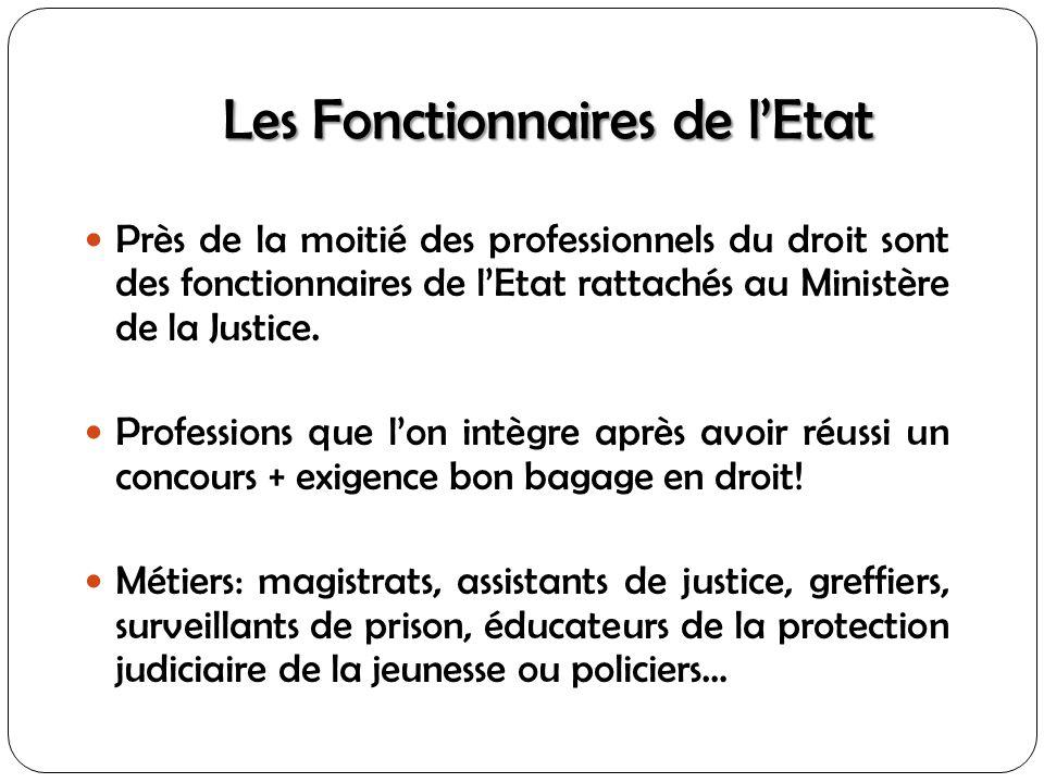 Les Fonctionnaires de lEtat Près de la moitié des professionnels du droit sont des fonctionnaires de lEtat rattachés au Ministère de la Justice. Profe