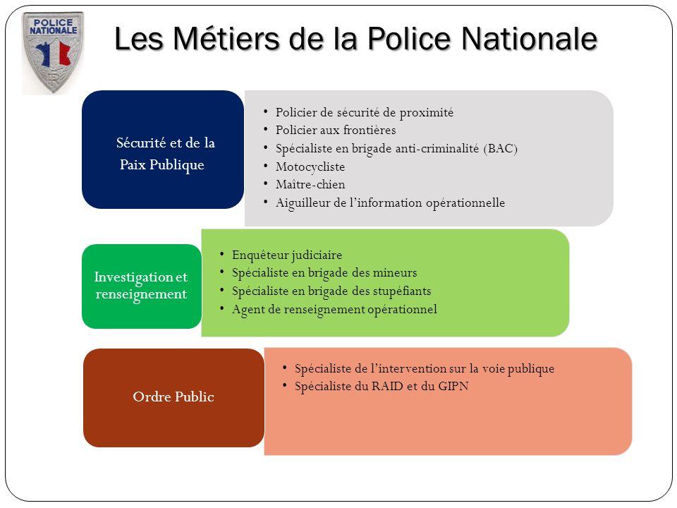 Les Métiers de la Police Nationale Policier de sécurité de proximité Policier aux frontières Spécialiste en brigade anti-criminalité (BAC) Motocyclist