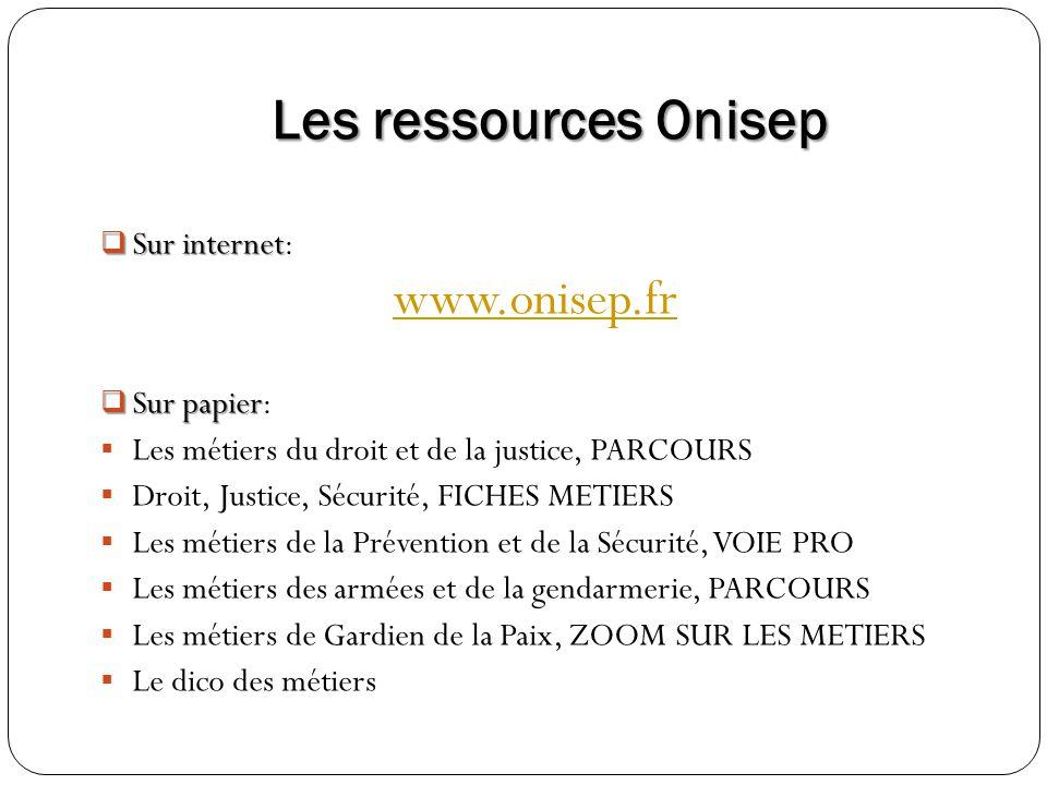 Les ressources Onisep Sur internet Sur internet: www.onisep.fr Sur papier Sur papier: Les métiers du droit et de la justice, PARCOURS Droit, Justice,