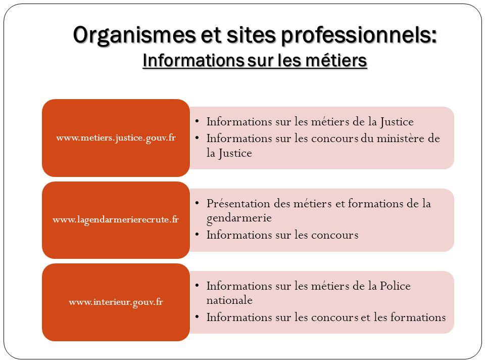 Organismes et sites professionnels: Informations sur les métiers Informations sur les métiers de la Justice Informations sur les concours du ministère
