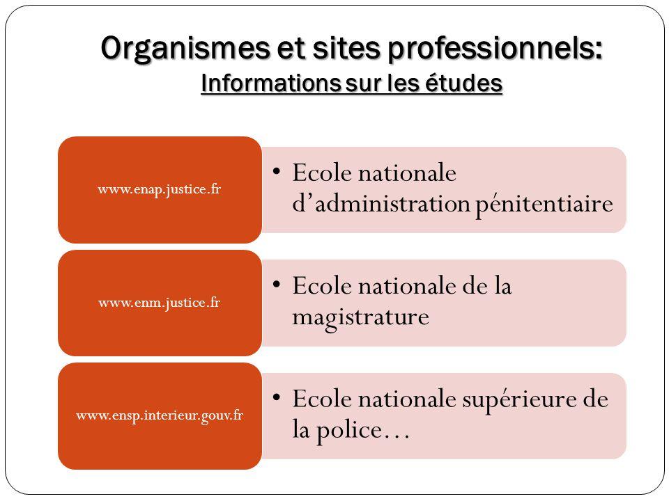 Organismes et sites professionnels: Informations sur les études Ecole nationale dadministration pénitentiaire www.enap.justice.fr Ecole nationale de l