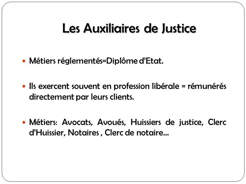 Les Auxiliaires de Justice Métiers réglementés=Diplôme dEtat. Ils exercent souvent en profession libérale = rémunérés directement par leurs clients. M