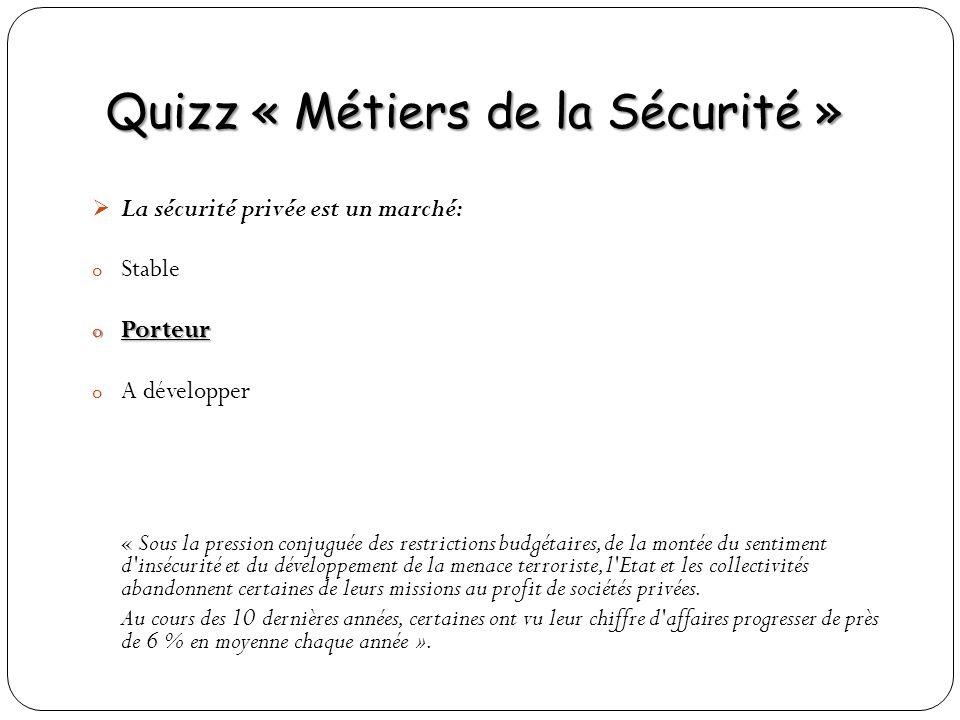 Quizz « Métiers de la Sécurité » La sécurité privée est un marché: o Stable o Porteur o A développer « Sous la pression conjuguée des restrictions bud