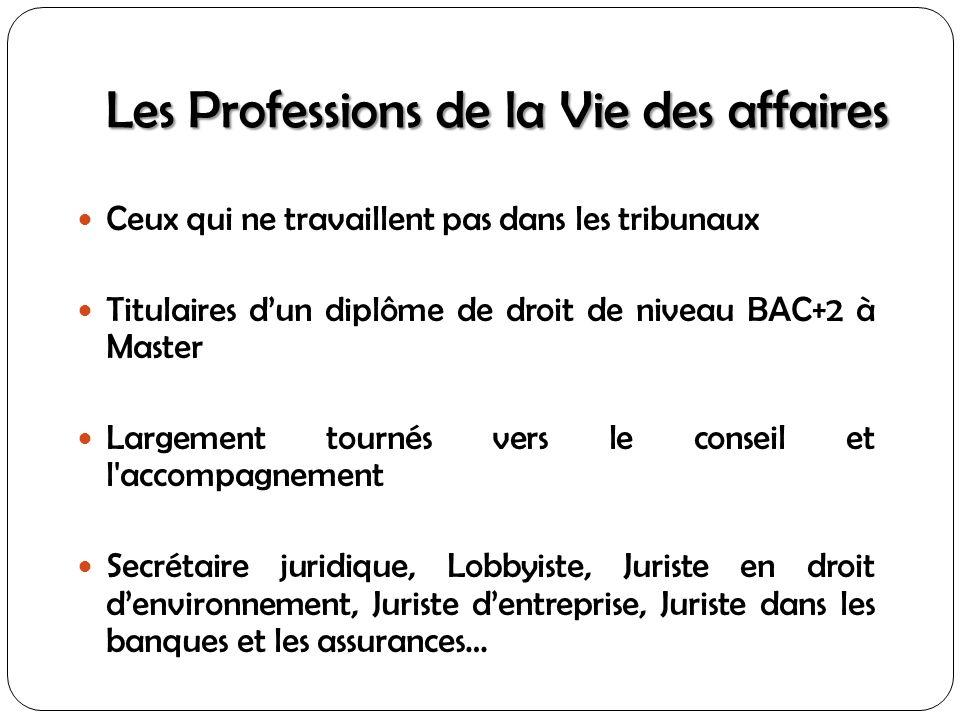 Les Professions de la Vie des affaires Ceux qui ne travaillent pas dans les tribunaux Titulaires dun diplôme de droit de niveau BAC+2 à Master Largeme