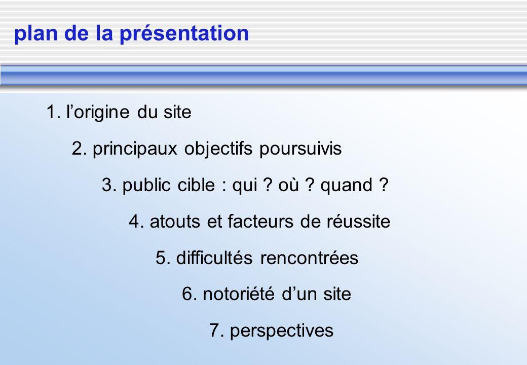 plan de la présentation 2. principaux objectifs poursuivis 3. public cible : qui ? où ? quand ? 4. atouts et facteurs de réussite 5. difficultés renco