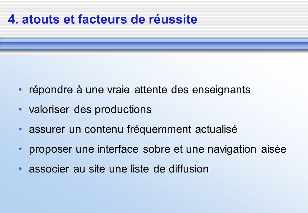 4. atouts et facteurs de réussite répondre à une vraie attente des enseignants valoriser des productions assurer un contenu fréquemment actualisé prop