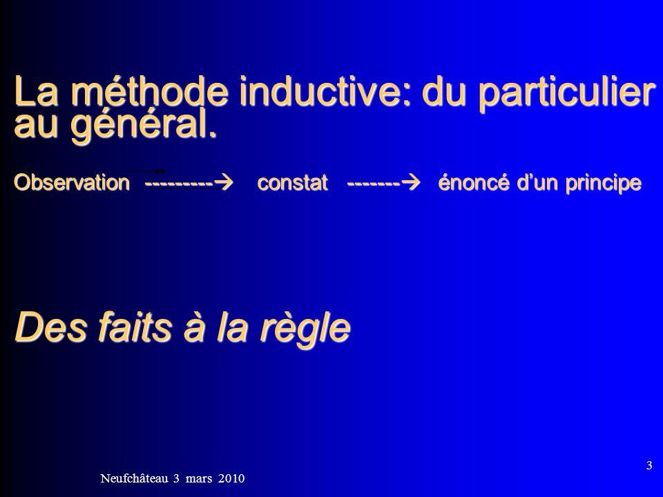 Neufchâteau 3 mars 2010 4 La méthode inductive: 1)Contextualisation, situation concrète.