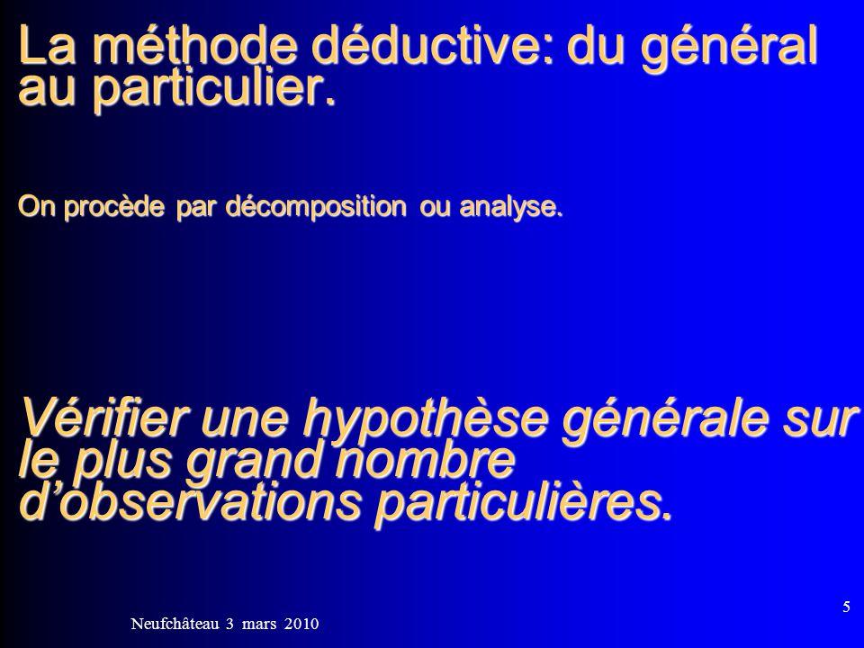 Neufchâteau 3 mars 2010 6 La méthode déductive: 1)Un principe général: lenseignant donne les règles.