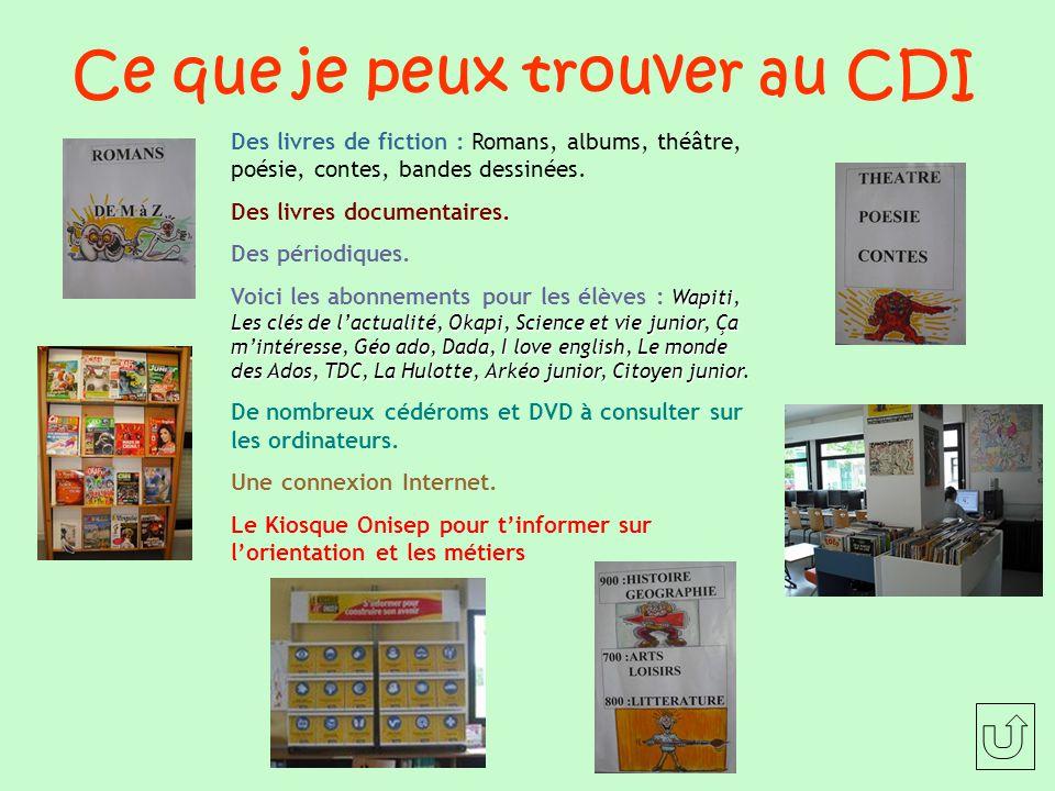 Ce que je peux trouver au CDI Des livres de fiction : Romans, albums, théâtre, poésie, contes, bandes dessinées.