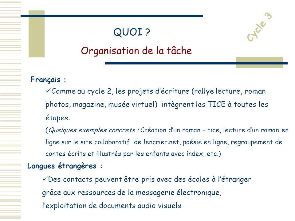 Français : Comme au cycle 2, les projets décriture (rallye lecture, roman photos, magazine, musée virtuel) intègrent les TICE à toutes les étapes.