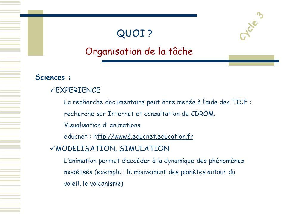 Sciences : EXPERIENCE La recherche documentaire peut être menée à laide des TICE : recherche sur Internet et consultation de CDROM.