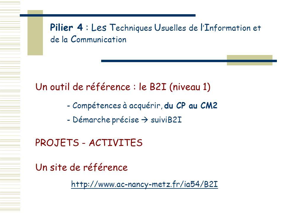 Pilier 4 : Les T echniques U suelles de l I nformation et de la C ommunication Un outil de référence : le B2I (niveau 1) - Compétences à acquérir, du CP au CM2 - Démarche précise suiviB2I Un site de référence http://www.ac-nancy-metz.fr/ia54/B2I PROJETS - ACTIVITES