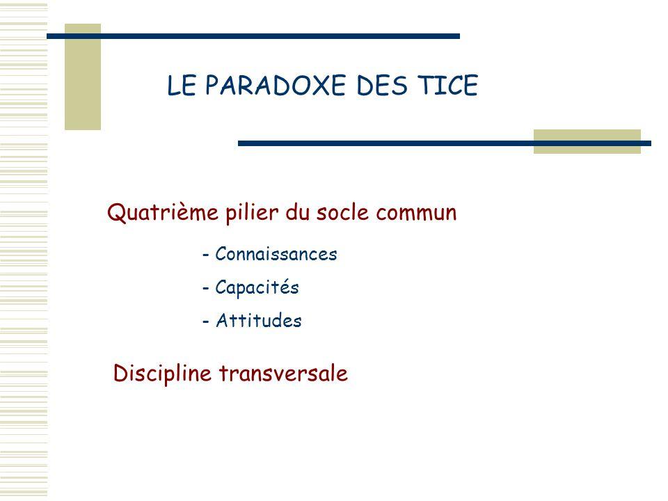 LE PARADOXE DES TICE Quatrième pilier du socle commun Discipline transversale - Connaissances - Capacités - Attitudes