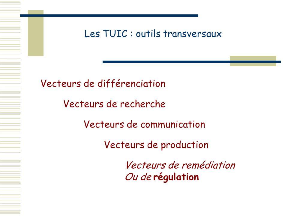 Les TUIC : outils transversaux Vecteurs de remédiation Ou de régulation Vecteurs de recherche Vecteurs de communication Vecteurs de production Vecteurs de différenciation