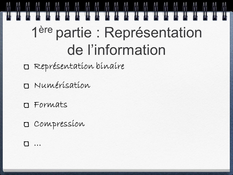 Représentation binaire Numérisation Formats Compression …