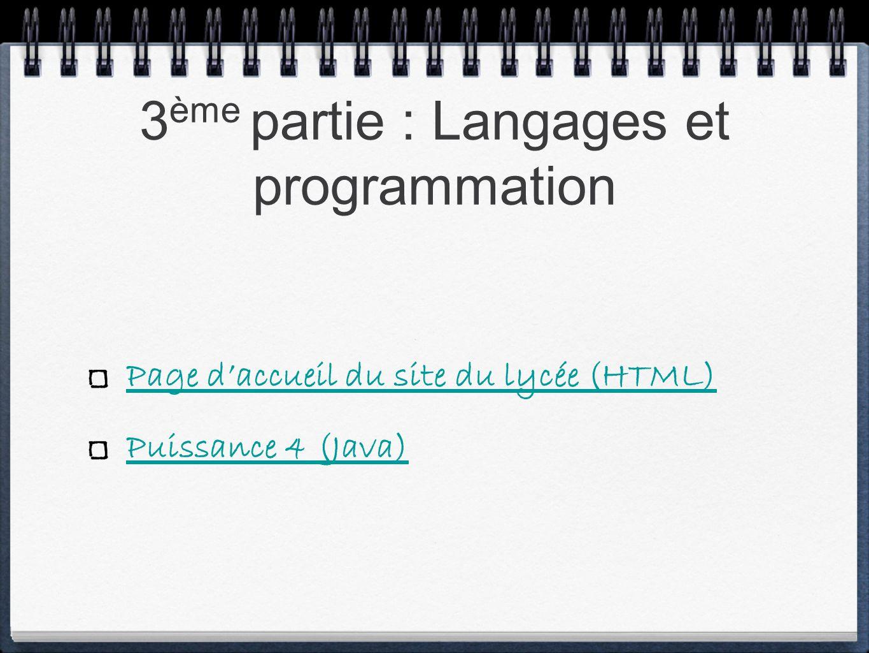 Page daccueil du site du lycée (HTML) Puissance 4 (Java)