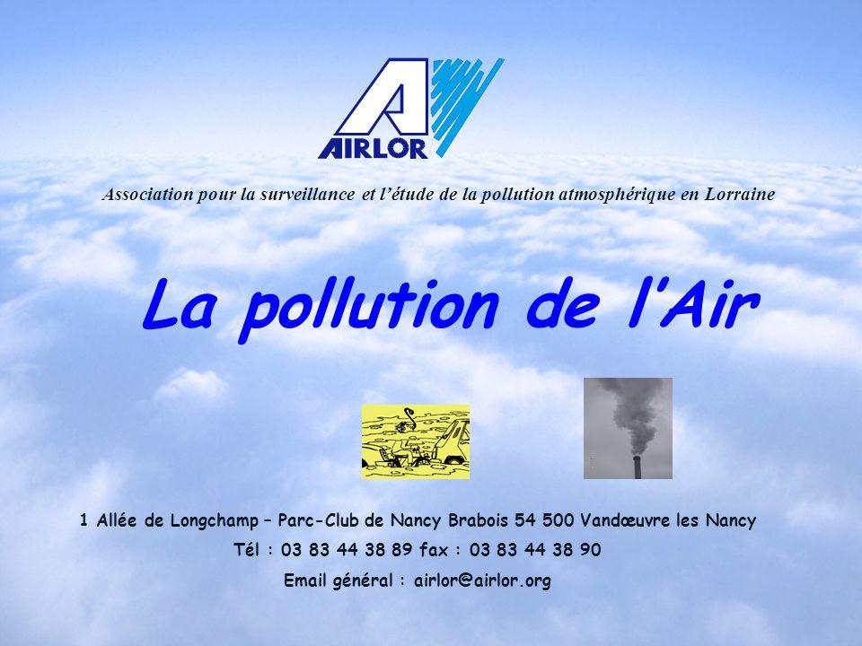 Association pour la surveillance et létude de la pollution atmosphérique en Lorraine 1 Allée de Longchamp – Parc-Club de Nancy Brabois 54 500 Vandœuvr