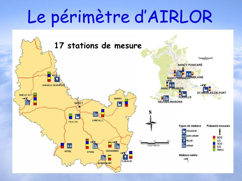 Le périmètre dAIRLOR Afficher carte lorraine Sud 17 stations de mesure