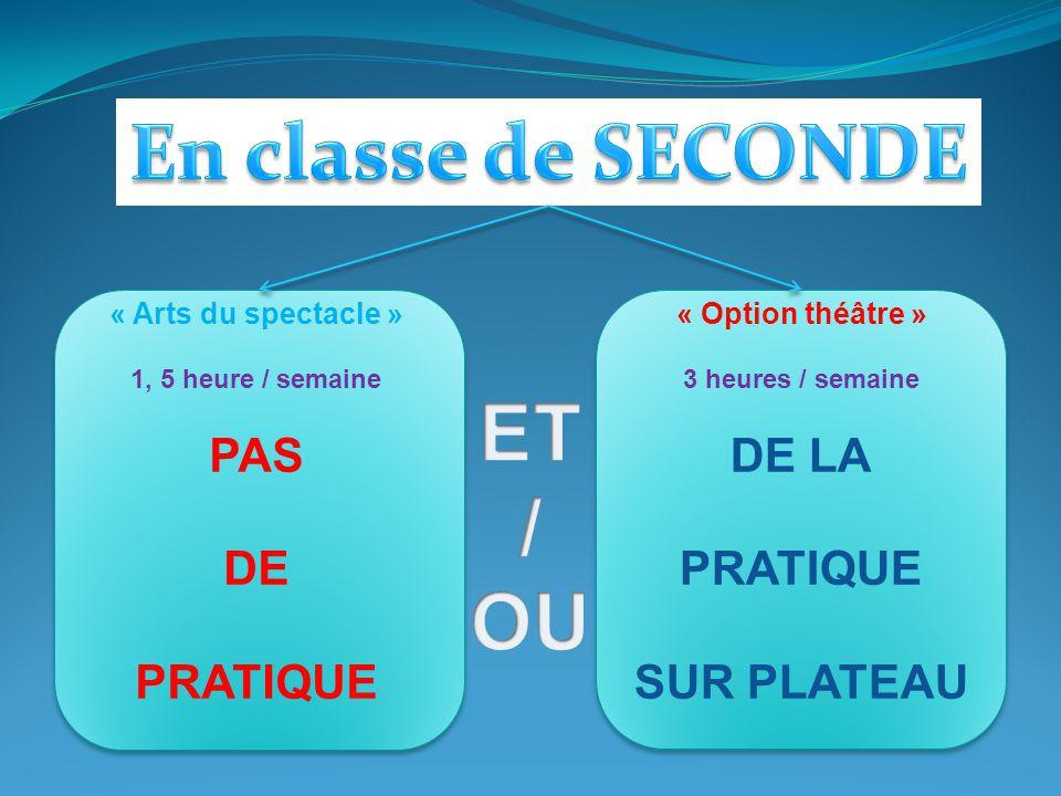 « Arts du spectacle » 1, 5 heure / semaine PAS DE PRATIQUE « Option théâtre » 3 heures / semaine DE LA PRATIQUE SUR PLATEAU