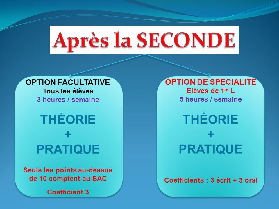 OPTION FACULTATIVE Tous les élèves 3 heures / semaine THÉORIE + PRATIQUE Seuls les points au-dessus de 10 comptent au BAC Coefficient 3 OPTION DE SPEC