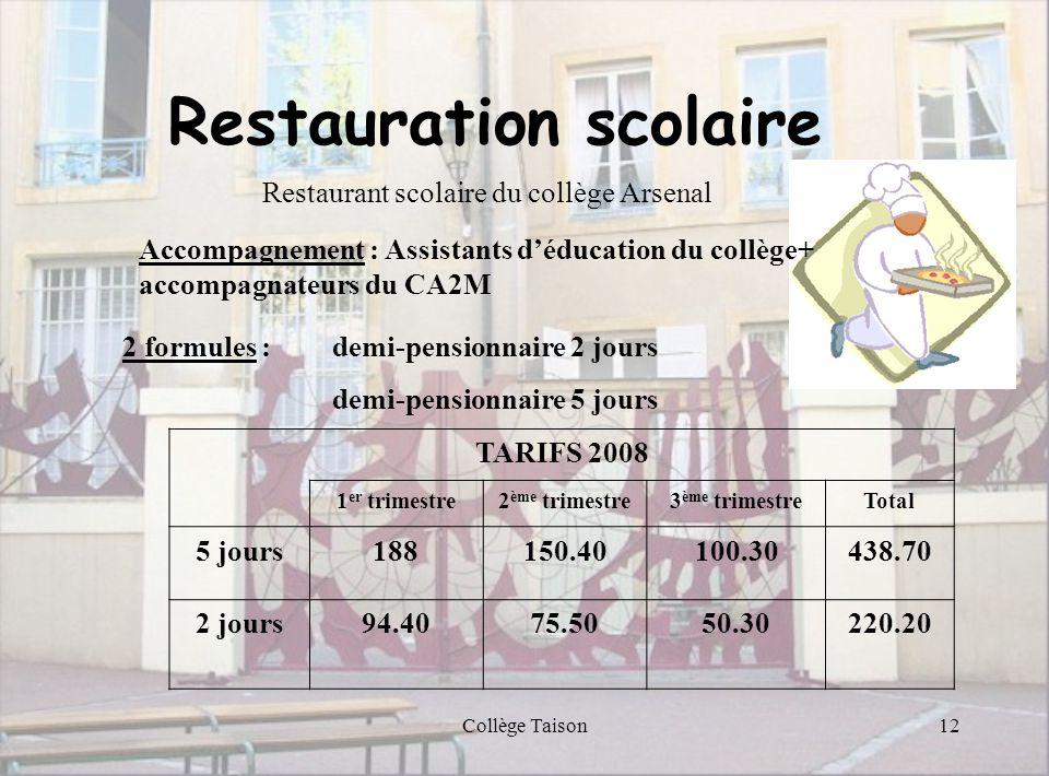 Collège Taison12 Restauration scolaire Restaurant scolaire du collège Arsenal Accompagnement : Assistants déducation du collège+ accompagnateurs du CA
