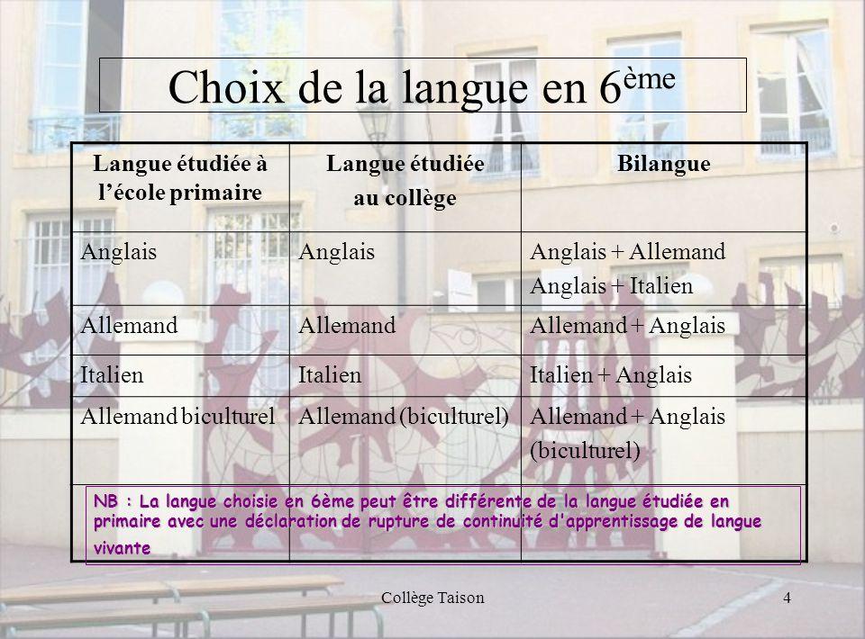 Collège Taison4 Choix de la langue en 6 ème Langue étudiée à lécole primaire Langue étudiée au collège Bilangue Anglais Anglais + Allemand Anglais + I