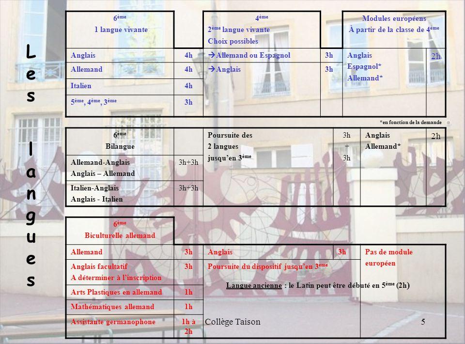 Collège Taison6 Matières Formation générale Dispositif CHAM Dispositif Biculturel Français 5h4,5h5h 1 langue Vivante anglais ou allemand ou italien 4h 3h Bilangue : anglais-allemand ou anglais-italien 3h+3h Histoire Géographie Education Civique 3h Mathématiques 4h 4h+1h en allemand Sciences et Vie de la Terre 1,5 h Technologie 1,5 h1h1,5 h E.P.S.