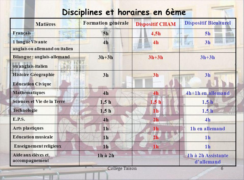 Collège Taison6 Matières Formation générale Dispositif CHAM Dispositif Biculturel Français 5h4,5h5h 1 langue Vivante anglais ou allemand ou italien 4h