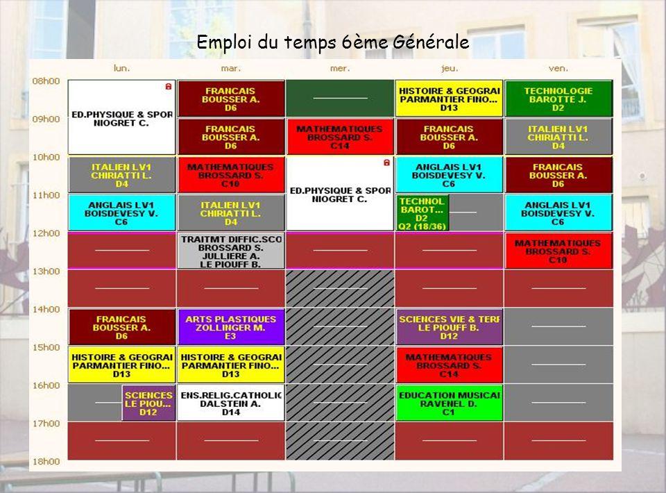 Collège Taison7 Emploi du temps 6ème Générale