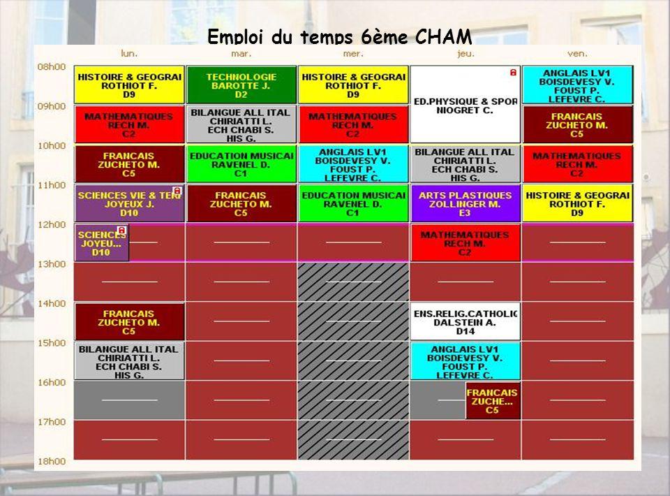 Collège Taison9 Emploi du temps 6ème CHAM