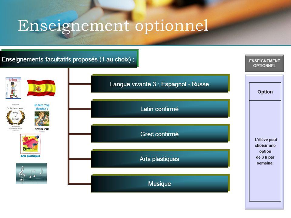 Enseignement optionnel Enseignements facultatifs proposés (1 au choix) ; Langue vivante 3 : Espagnol - Russe Latin confirmé Grec confirmé Arts plastiques Musique