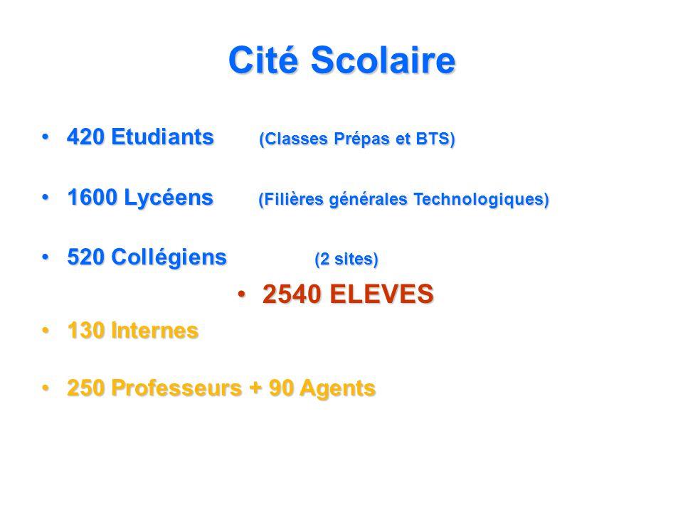 Cité Scolaire 420 Etudiants (Classes Prépas et BTS)420 Etudiants (Classes Prépas et BTS) 1600 Lycéens (Filières générales Technologiques)1600 Lycéens (Filières générales Technologiques) 520 Collégiens (2 sites)520 Collégiens (2 sites) 2540 ELEVES2540 ELEVES 130 Internes130 Internes 250 Professeurs + 90 Agents250 Professeurs + 90 Agents