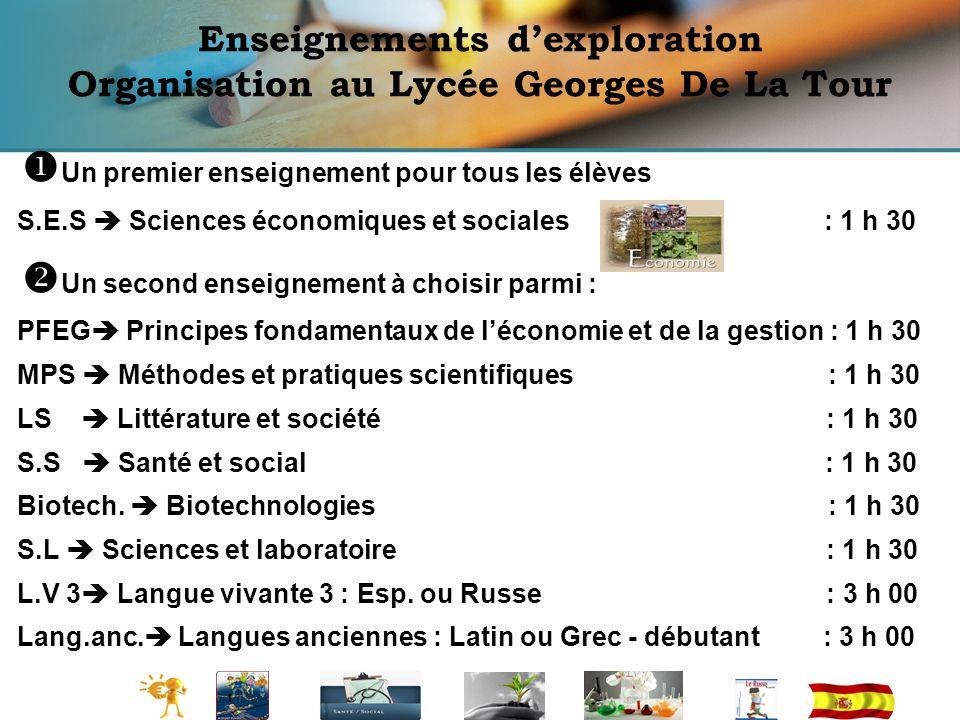 Enseignements dexploration Organisation au Lycée Georges De La Tour Un premier enseignement pour tous les élèves S.E.S Sciences économiques et sociale