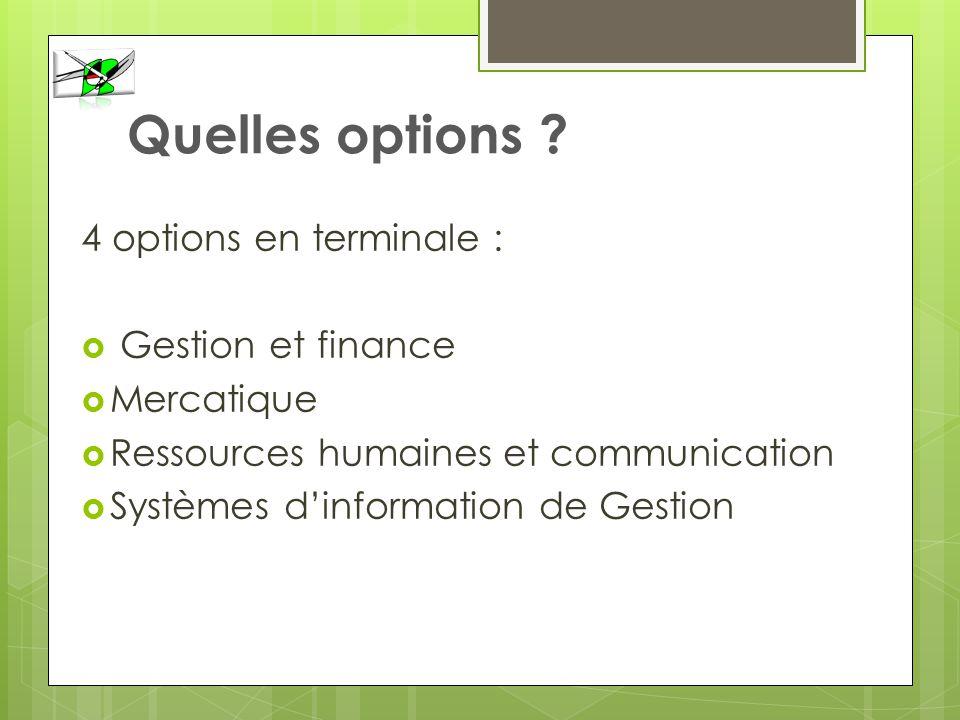 Quelles options ? 4 options en terminale : Gestion et finance Mercatique Ressources humaines et communication Systèmes dinformation de Gestion