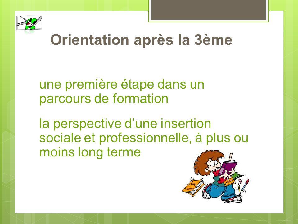 Orientation après la 3ème première une première étape dans un parcours de formation la perspective dune insertion sociale et professionnelle, à plus o