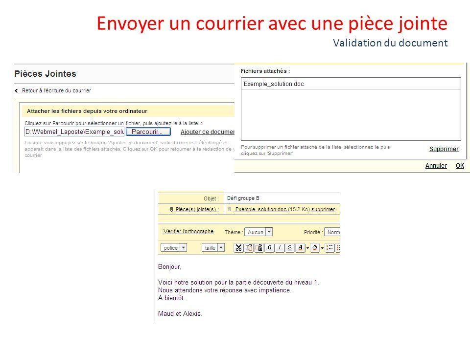 Envoyer un courrier avec une pièce jointe Validation du document