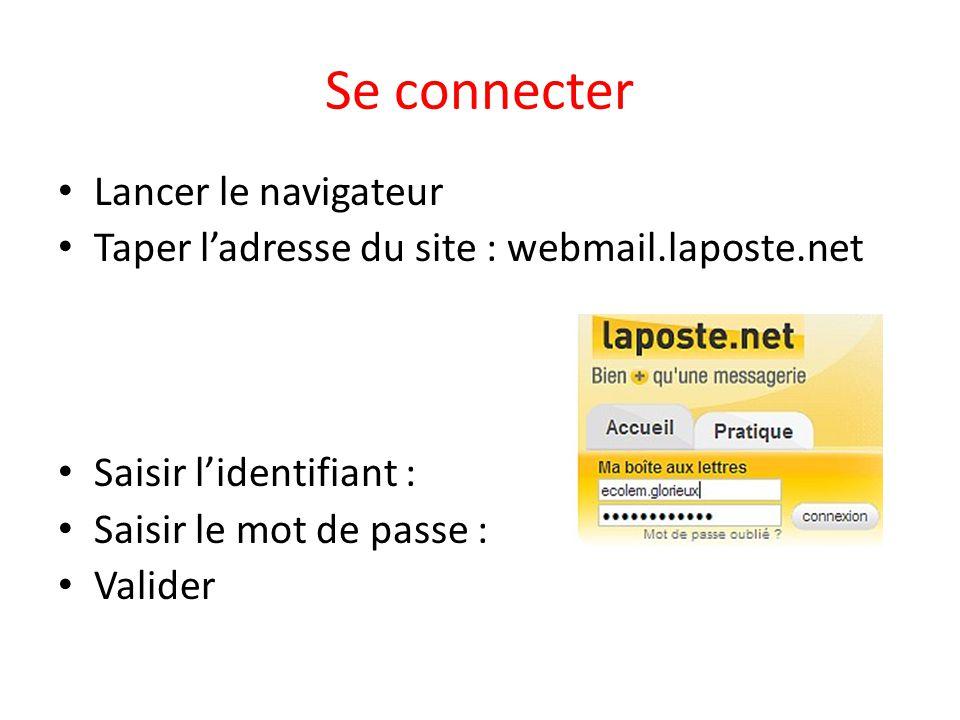 Se connecter Lancer le navigateur Taper ladresse du site : webmail.laposte.net Saisir lidentifiant : Saisir le mot de passe : Valider