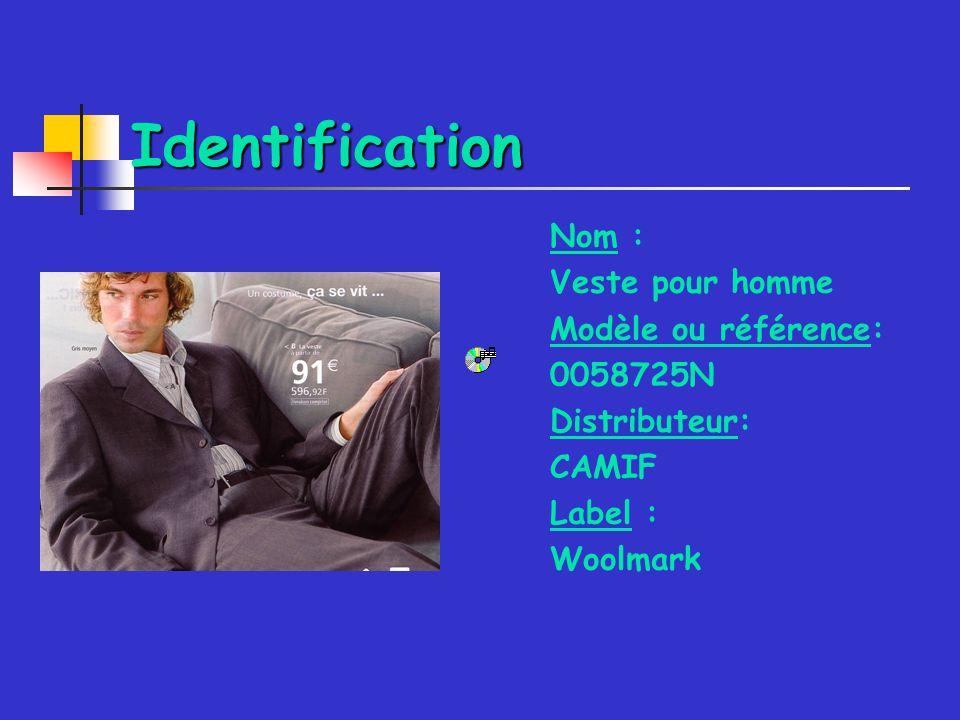 Identification Nom : Veste pour homme Modèle ou référence: 0058725N Distributeur: CAMIF Label : Woolmark
