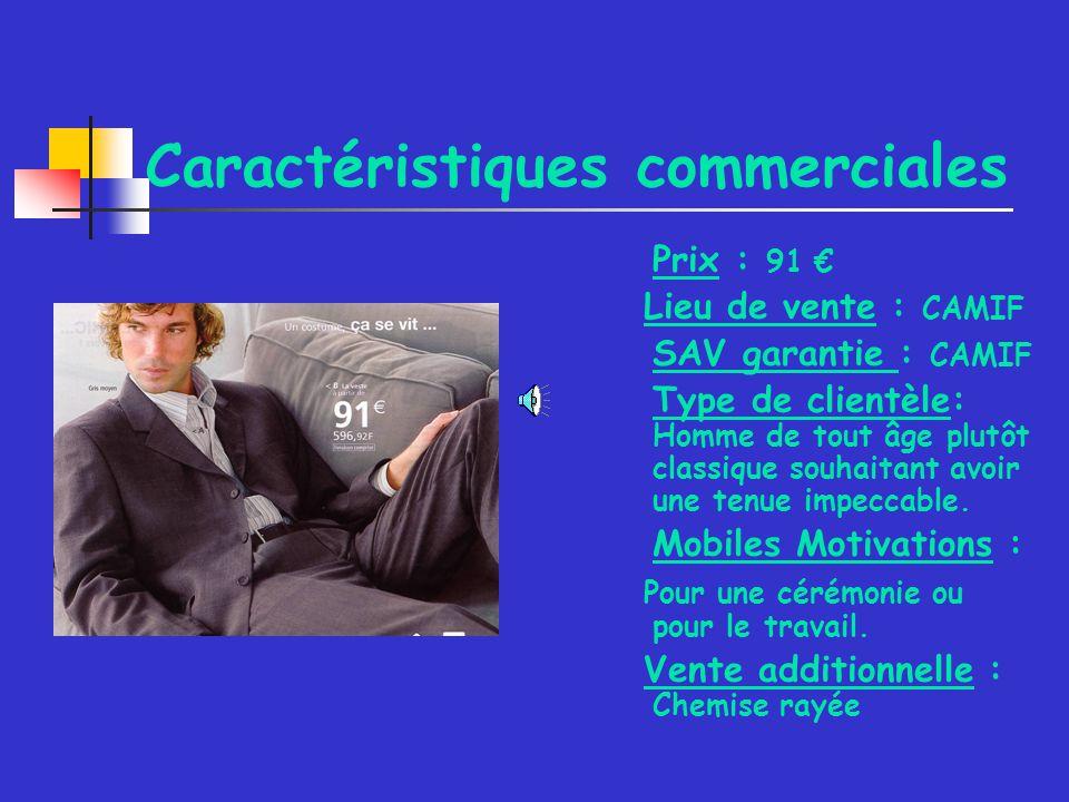 Caractéristiques commerciales Prix : 91 Lieu de vente : CAMIF SAV garantie : CAMIF Type de clientèle: Homme de tout âge plutôt classique souhaitant avoir une tenue impeccable.